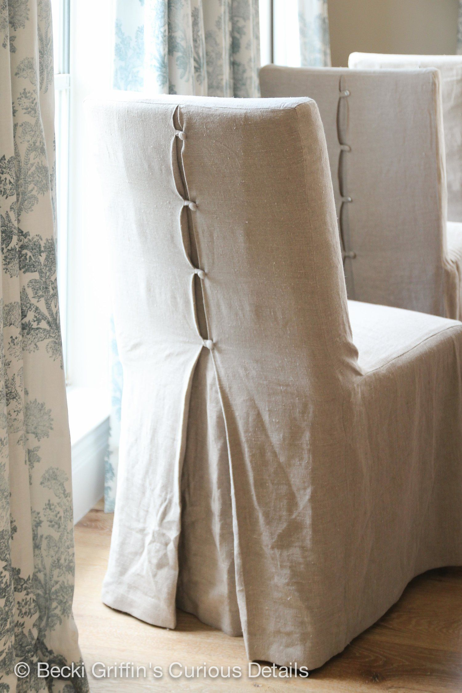 Beautiful details and fabric in these custom slipcovers by ls