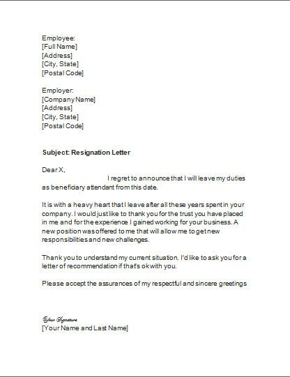 resignation letter format full name template how business