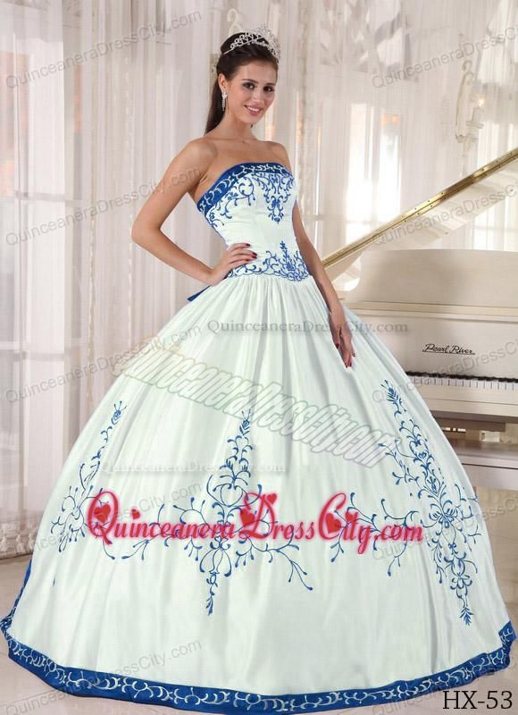 67d973dd8c White and Blue Strapless Floor-length Embroidery Quinceanera Dress ...