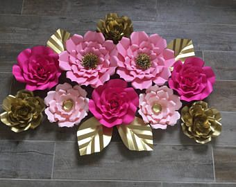 Paper Flower Backdrop 10 Flowers Pink Cream And Gold A M A Z I N G