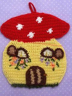 Mushroom House Potholder Topflappenunentbehrlich Pinterest