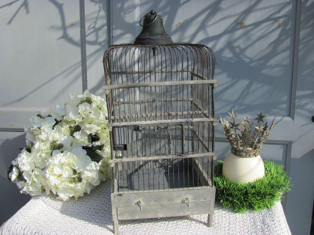 French Garden Cage à Oiseaux Fil de Fer Vogelkäfig shabby Birdcage Vogelbauer