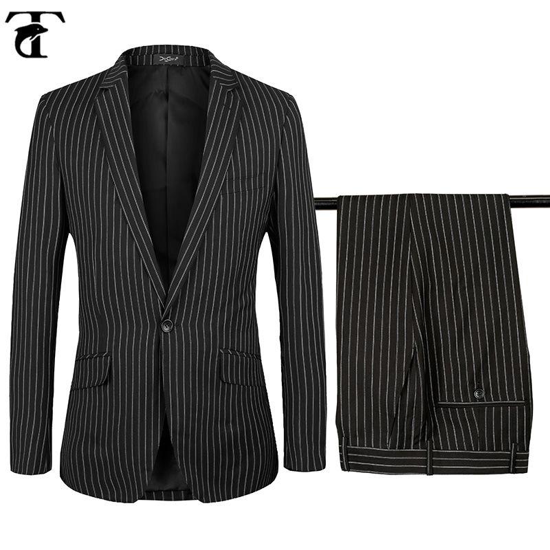 Black Striped Suit Men Slim Fit 2017 Gentleman Wedding Dress Suits for Men Business Leisure Costume Homme big size XS-4XL #Affiliate