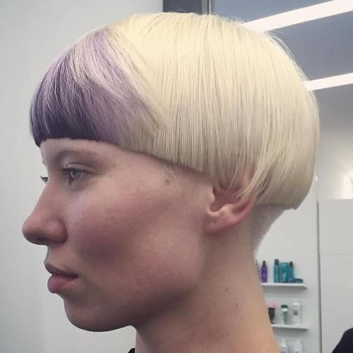 Blonde Mushroom Cut With Purple Bangs Pageboy Haircut Ideas 2018