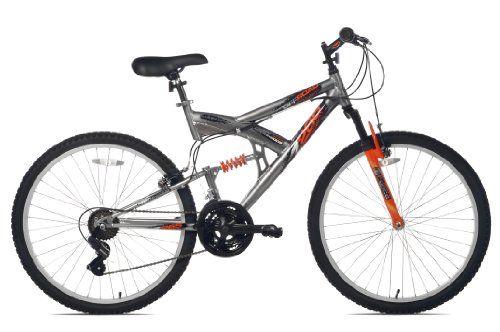 Northwoods Aluminum Full Suspension Mountain Bike Grey Orange 26