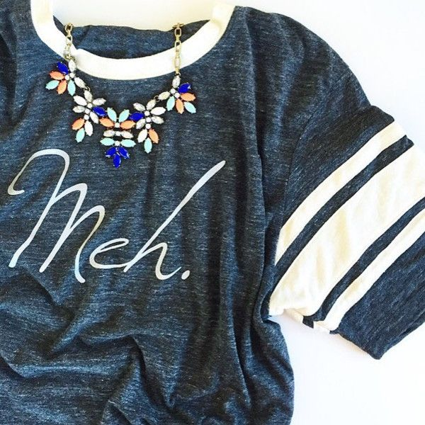 """because sometimes you need a tee to describe how you feel about it......  Our """"Meh."""" design printed in metallic silver ink on Alternative Apparel's eco black t"""