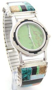 Men's Inlay Native American Sterling Watch Jewelry Mohave Green Turquoise Face