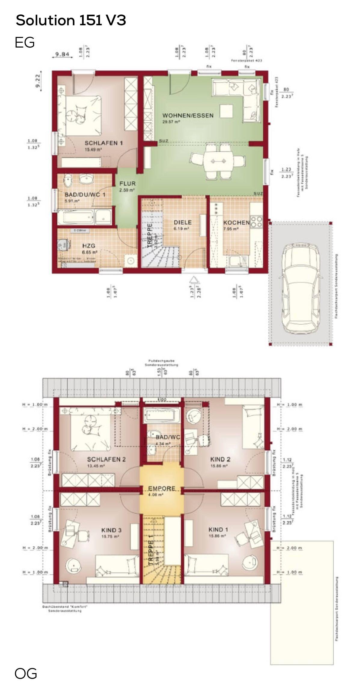 grundrisse einfamilienhaus mit satteldach und carport 6 zimmer grundriss erdgeschoss modern. Black Bedroom Furniture Sets. Home Design Ideas