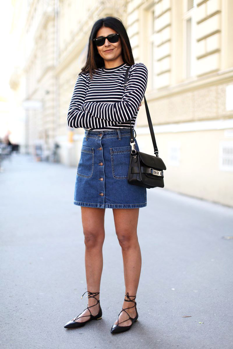 chic ways to wear lace up flats denim skirt button