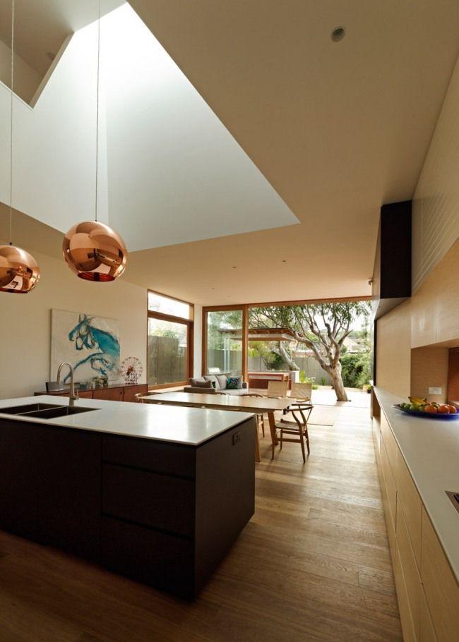 kücheninsel dunkelholz modernes strandhaus design bondi beach ...