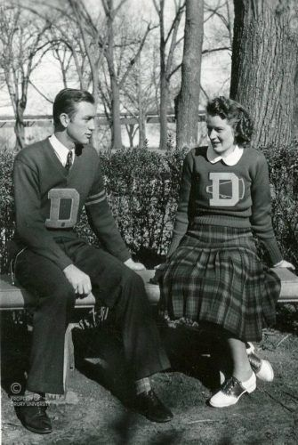 1930s mens and women's Letterman varsity sweaters with the big letter in the center.