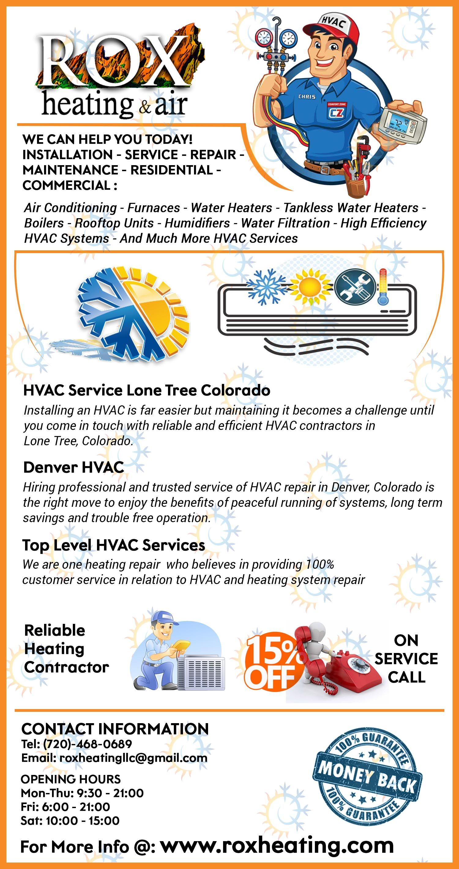Need Top Level Hvac Services At Moderate Costs Rox Heating Air