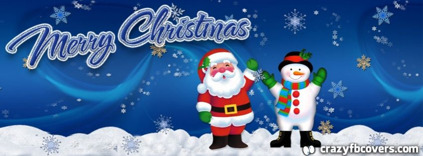 Santa and Snowman Merry Christmas Facebook Cover ...