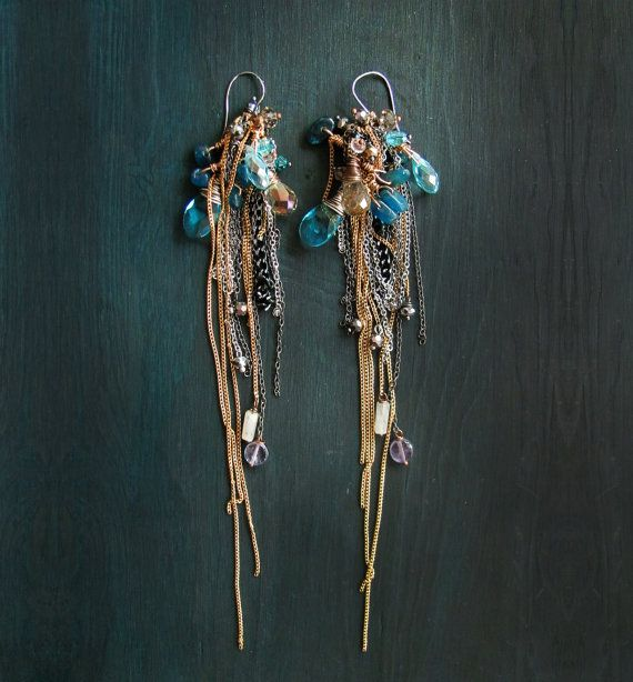 Extra long earrings. Kyanite earrings. Extreamly long