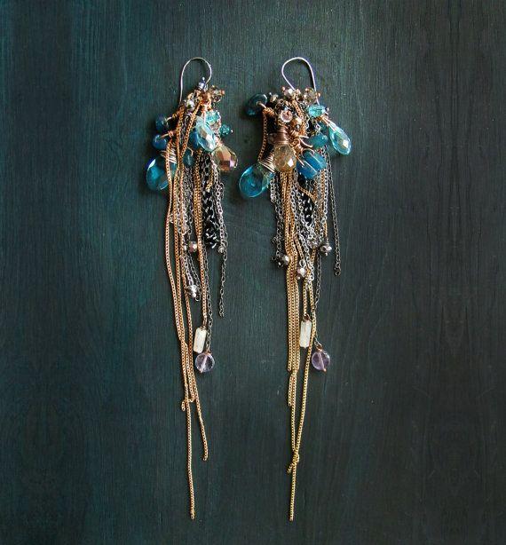 Extra long earrings. Kyanite earrings. Extreamly long