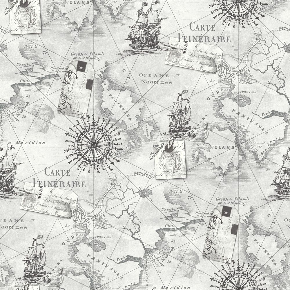 Arthouse Navigator VIP Cartography Vintage Nautical Map Wallpaper ...