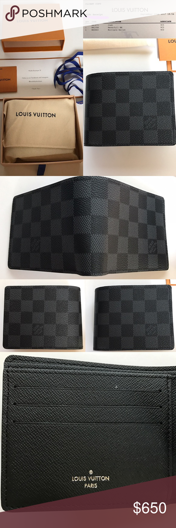 43e64c890bc8 NEW Authentic Louis Vuitton Multiple Wallet DE LV Men s Louis Vuitton  Multiple Wallet in Damier Graphite