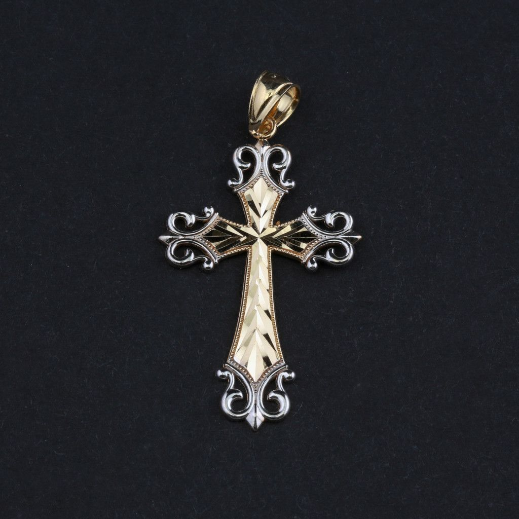 14kt Two-Tone Gold Scroll Edged Cross