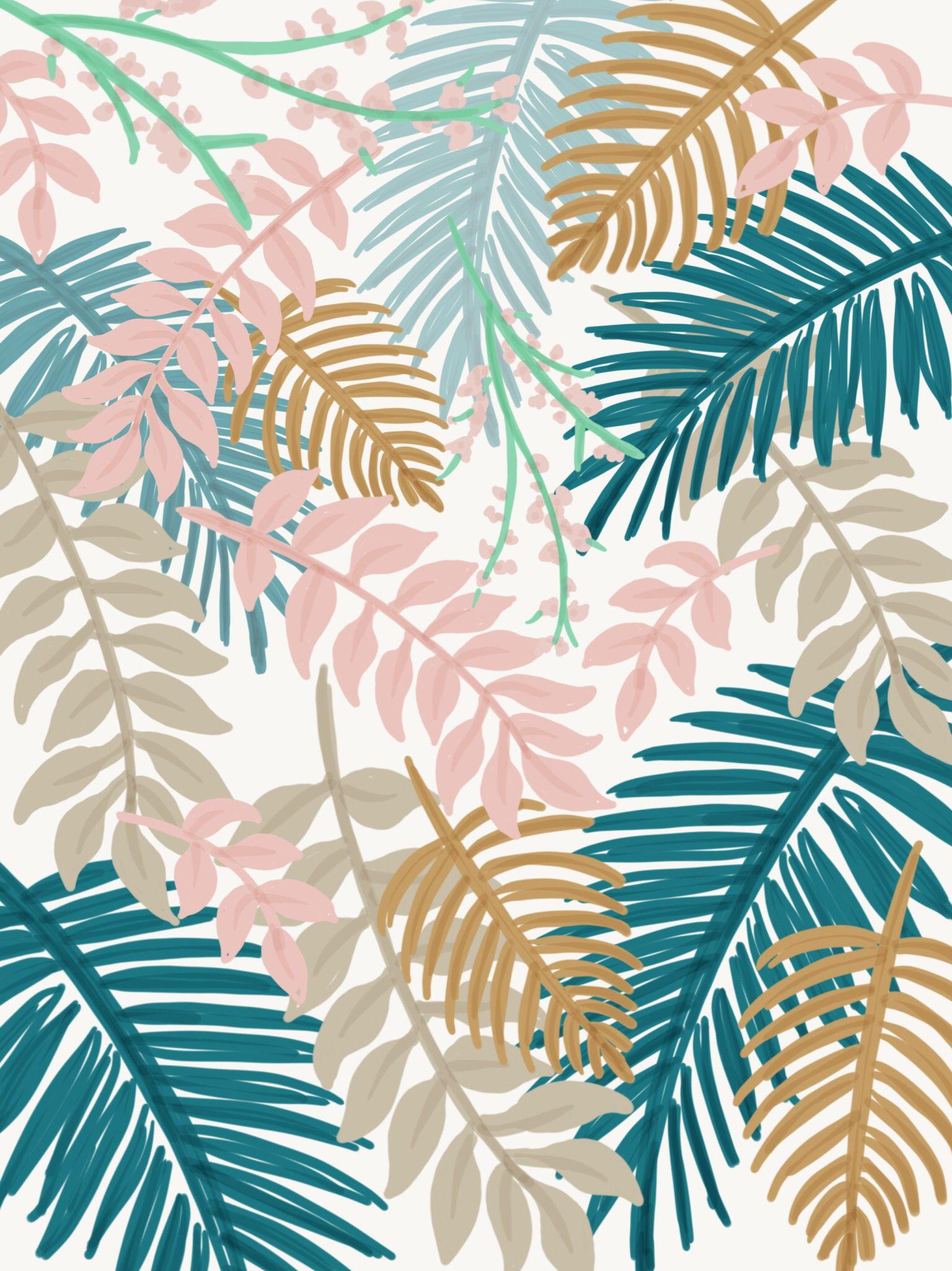 Tropical Leaf Illustration Leaf Illustration Tropical Leaves Illustration Leaves Wallpaper Iphone
