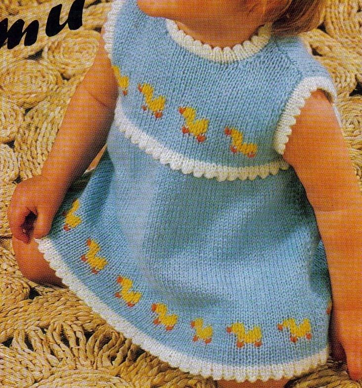 Just Ducky Vintage Digital Pattern to Knit Baby Girl Sun Dress - PDF ...