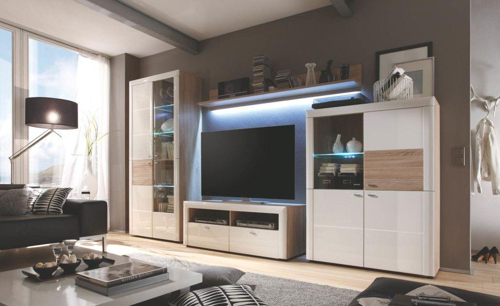 MCA #Wohnmöbel #Wohnwand #Weiß #Hochglanz #Wohnzimmer - Möbel Mit