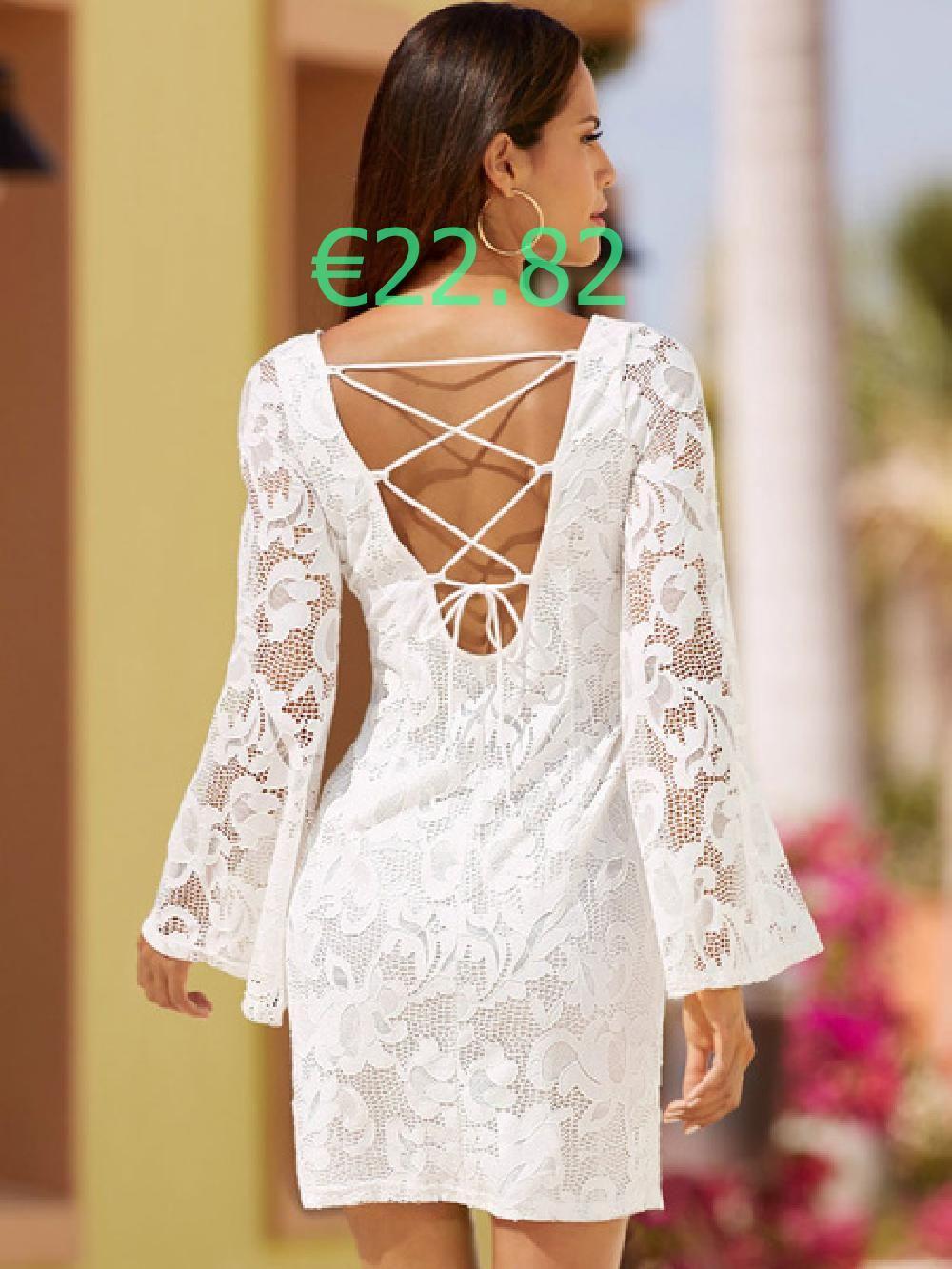 Weiße Spitze Kleid Langarm Frauen rückenfreie Schnürschuh