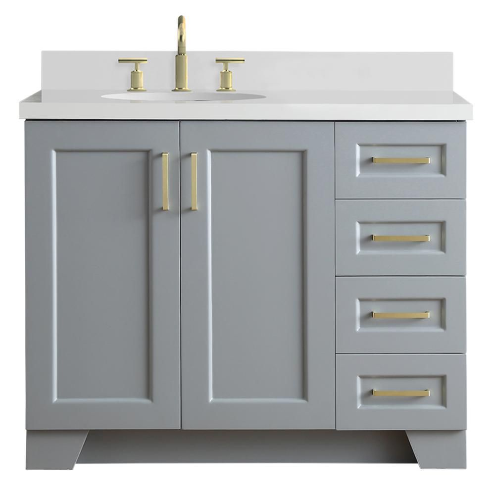 Ariel Taylor 43 In W X 22 In D Bath Vanity In Grey With Quartz Vanity Top In White With Left Offset White Oval Basin Q43slb Wqo Gry The Home Depot Single Sink [ 1000 x 1000 Pixel ]