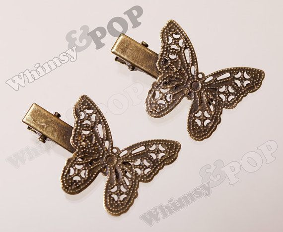 10  Antique Bronze Butterfly Hair Clip Blanks 40MM by whimsyandpop