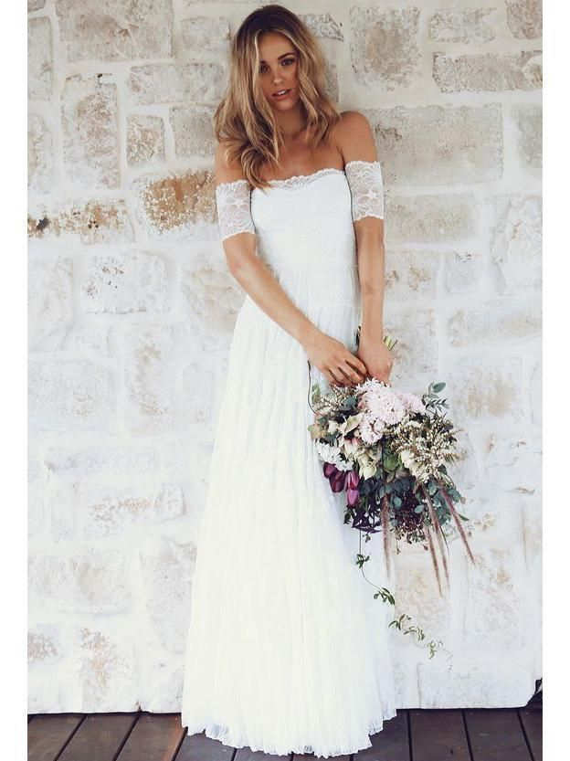 Off Shoulder Casual Cheap Ivory Lace Wedding Dresses Online Wd361