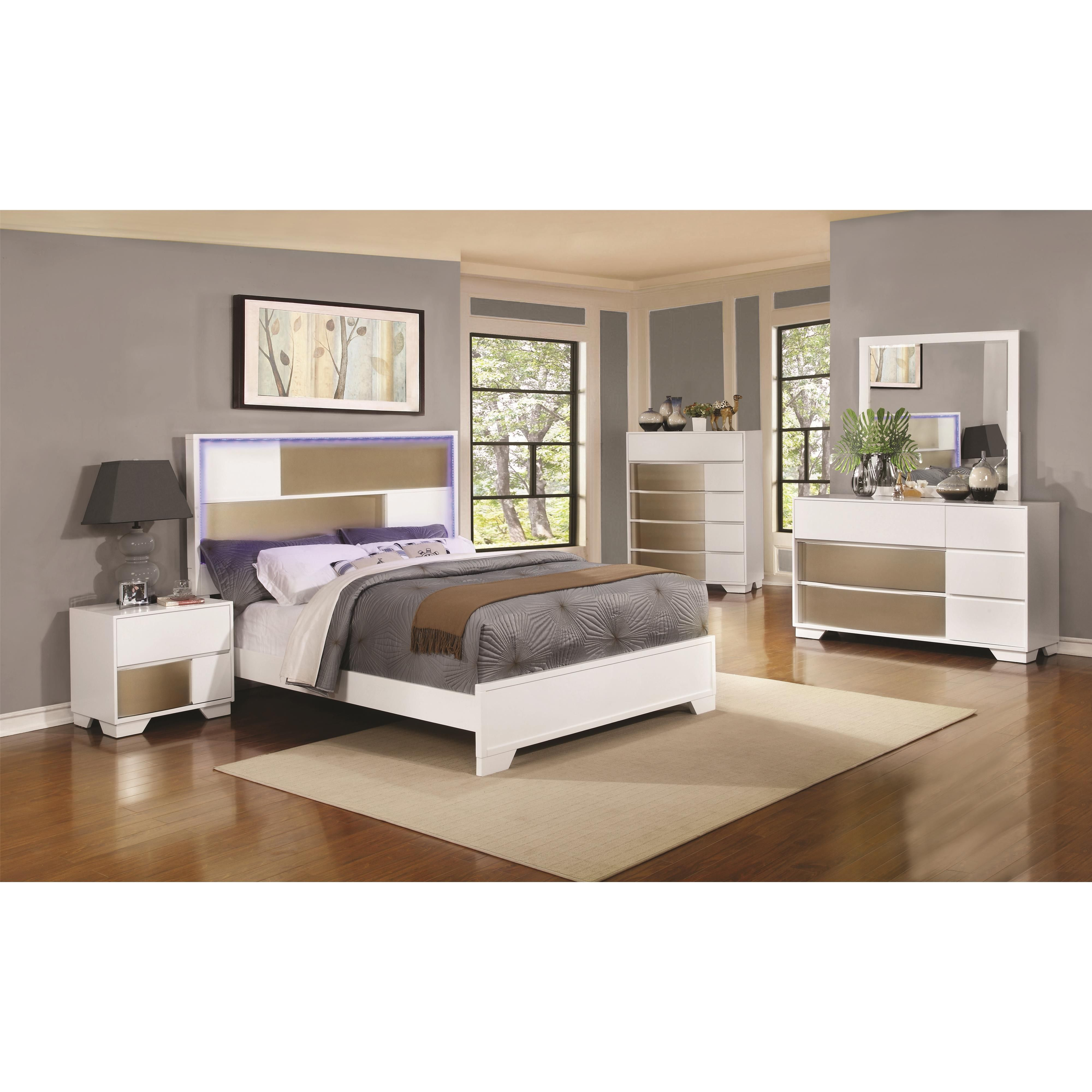 Coaster Havering Eastern King Bed With Led Lighted Headboard Fine Furniture