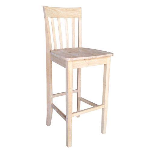 Seating Stools Unfinished Wood Slatback 30 Inch Seat Stool Bar