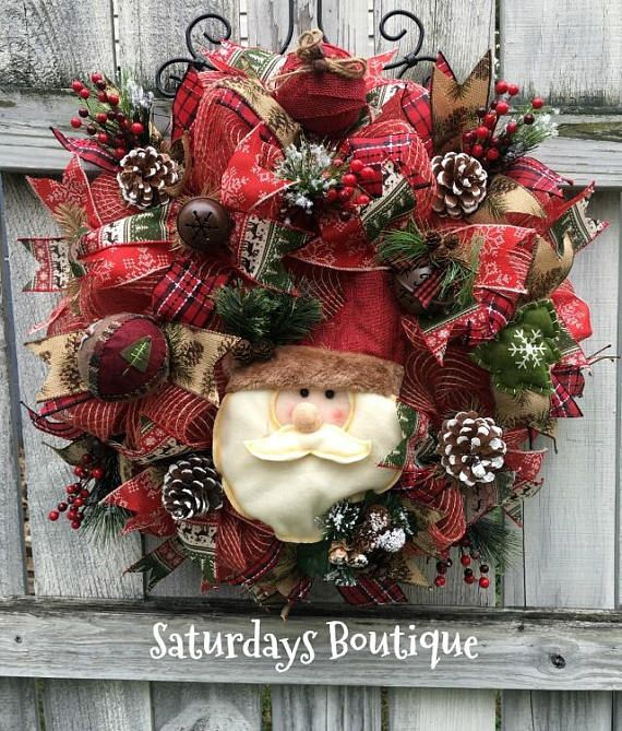 Country Santa Christmas Wreath, Rustic, Vintage Door Decor Wreath