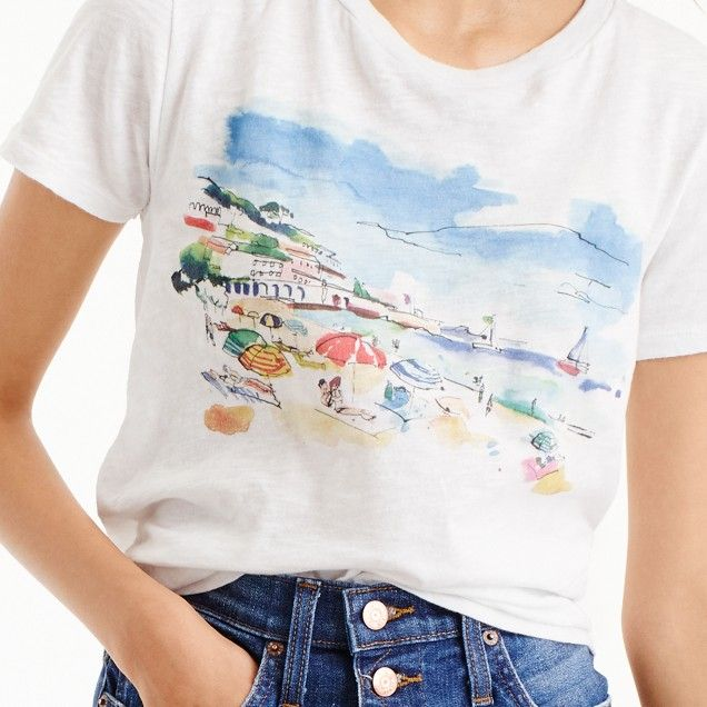 Marcel George Trade For J Crew Beach Watercolor T Shirt In