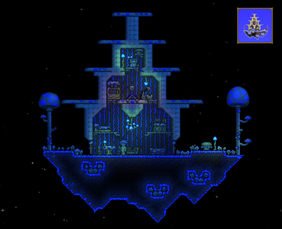 Terraria Really Nice Floating Glowing Mushroom Biome And