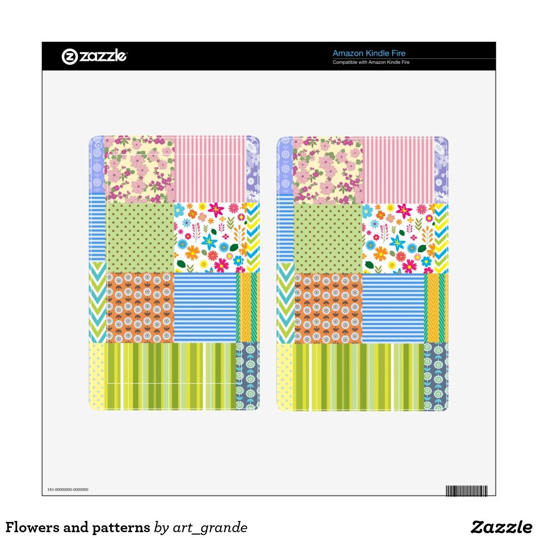 Flowers and patterns decal for kindle fire