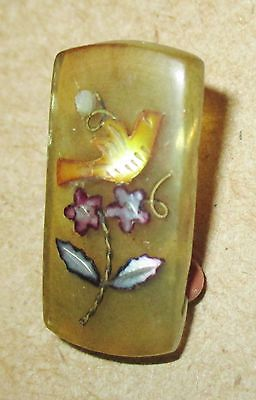 Colorful Antique Victorian Honey Horn Button w Shell Inlay Bird & Flowers Design