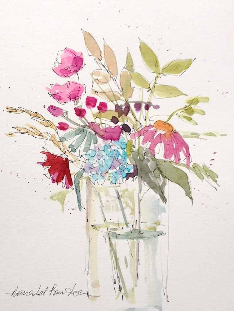 Original Watercolour Painting Flowers In A Vase Signed Annabel