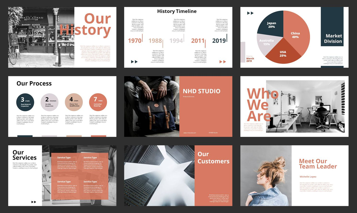 Company Profile Powerpoint Template 80527 Templates Orange