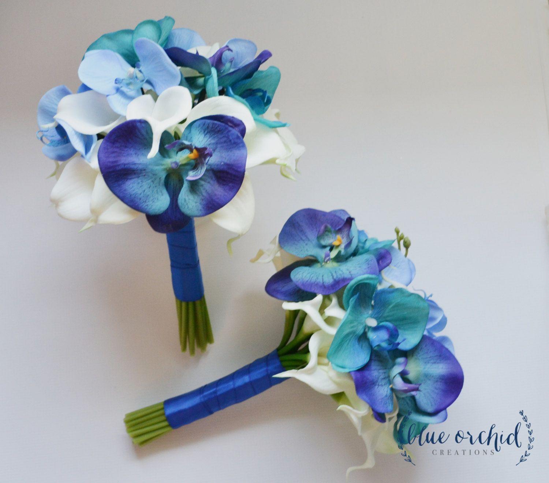 Destination Wedding Flowers Blue Turquoise Teal Tropical Bouquet Bridesmaid Bouquet Real Touch Bouquet Orchid Bouquet Beach Bouquet