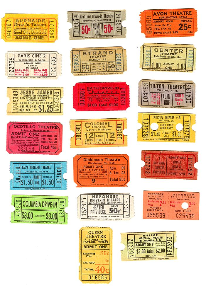 Selection Of Colorful Vintage Movie Tickets For Place
