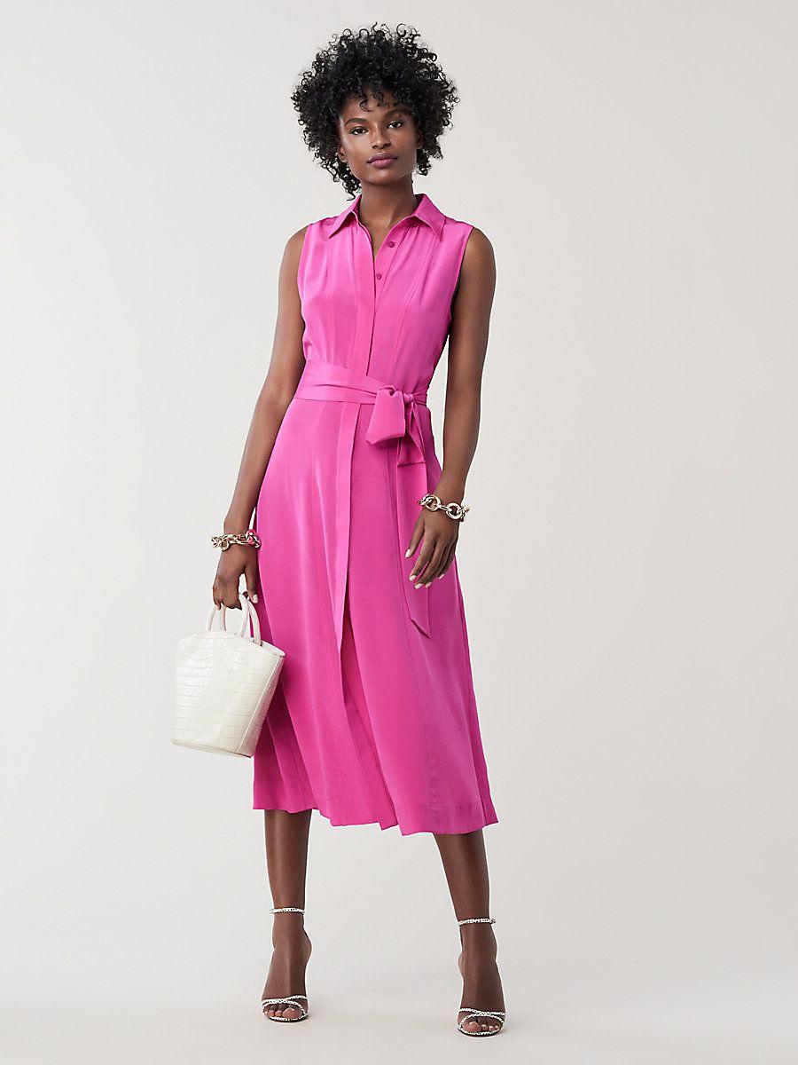 2ca37fe9820 Demi Silk Collared Midi Dress in Ribbon Pink