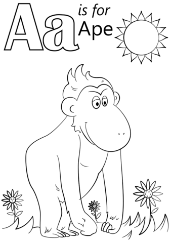 Letter A Is For Ape Coloring Page From Letter A Category Select From 27656 Printable Craft Preschool Coloring Pages Abc Coloring Pages Alphabet Coloring Pages