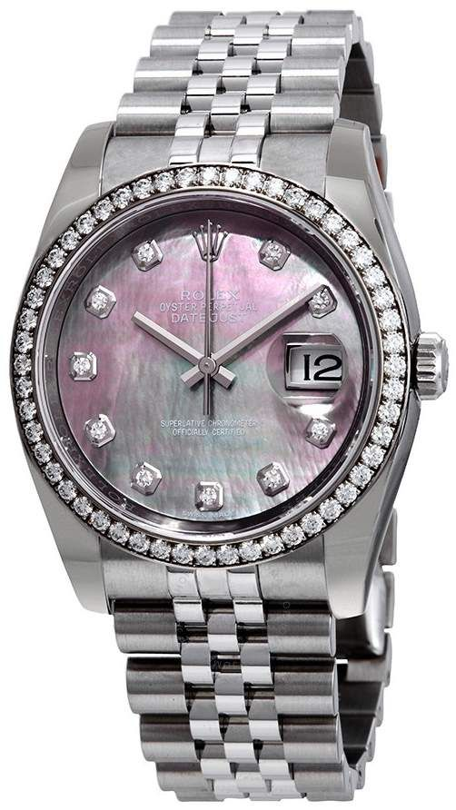 41b5255eb47 Rolex Oyster Perpetual Datejust 36 Black Mother of Pearl Dial Stainless  Steel Jubilee Bracelet Automatic Men s Watch