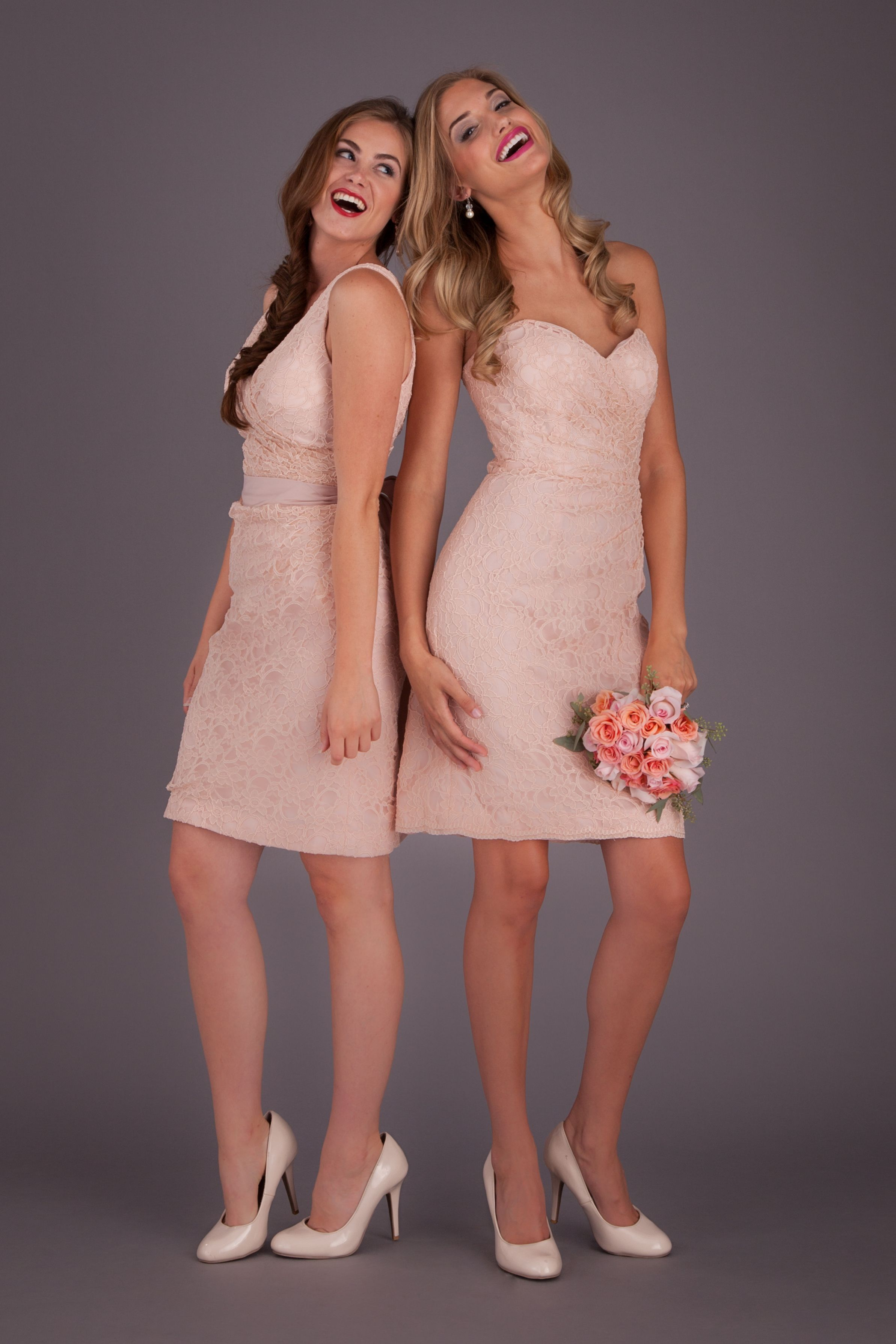 Laura lace bridesmaids blue bridesmaid gowns and fabric covered