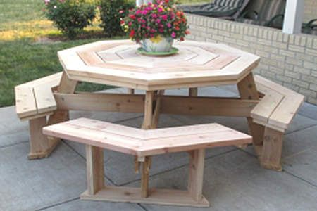 Octagon Picnic Table Plans, How To Build A Round Picnic Table And Benches