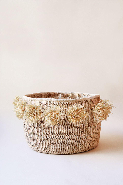 pom pom banana leaf floor basket indego africa manual. Black Bedroom Furniture Sets. Home Design Ideas