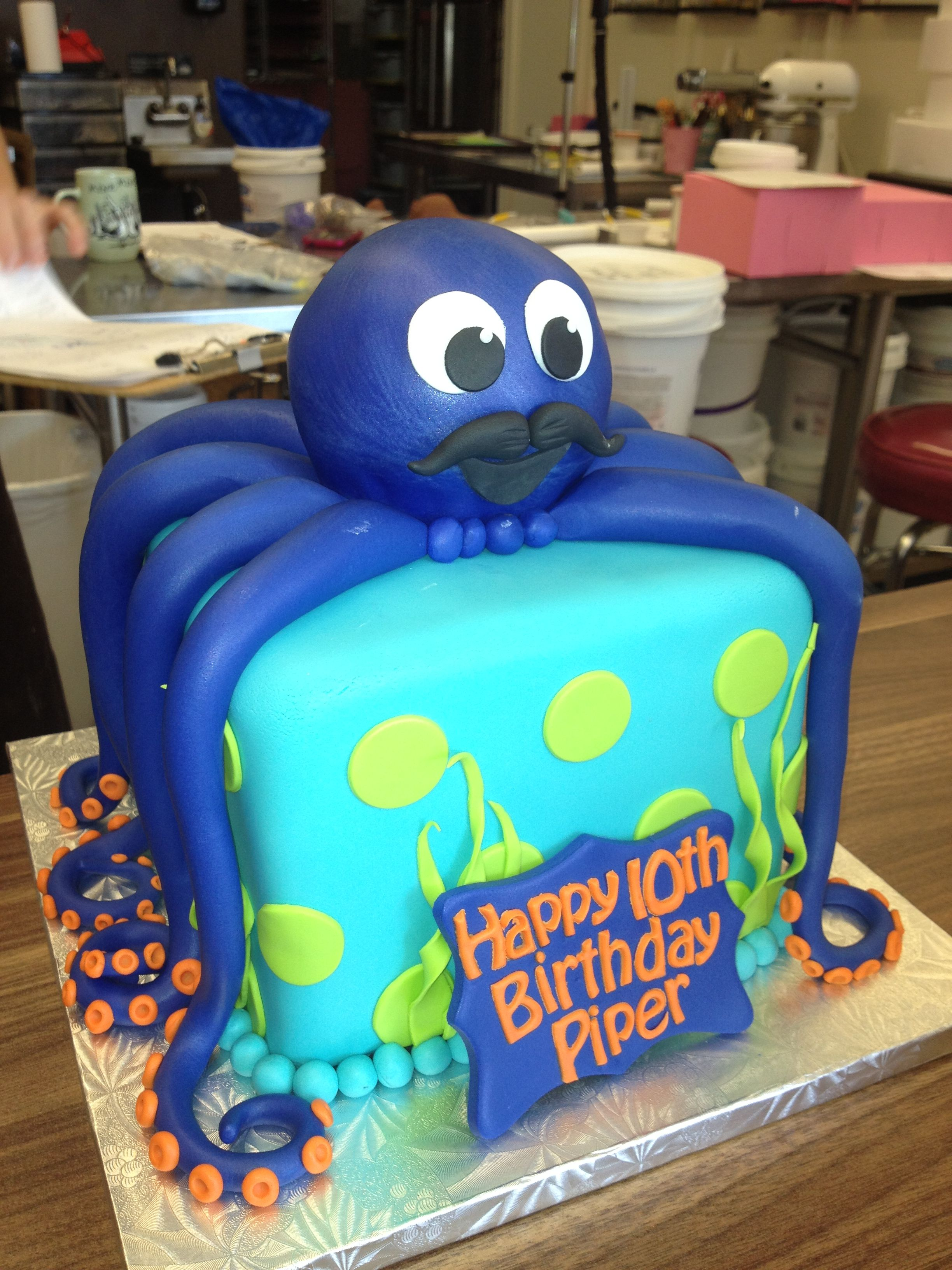 Just Picked Up This Custom Made Cake At The Local Bakery Simply Sweets In VancouverWA Fondue Octopus With Mustache For Under Sea Birthday Party