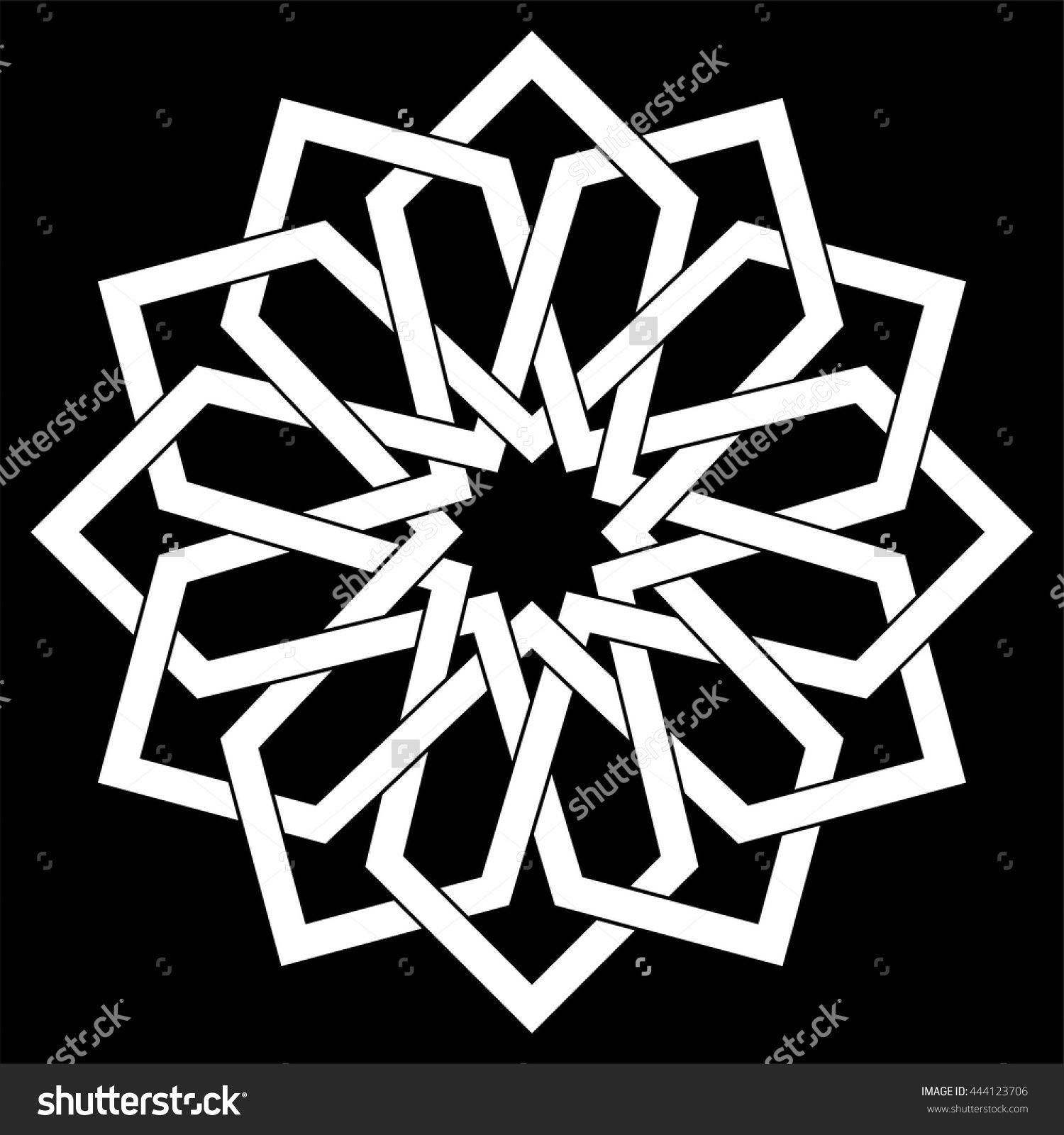 Islamic Geometric Art Arabic Motif Sacred Geometry Star Mandala Vector Illustration Grafik Sanati Stensiller Sanat Desen