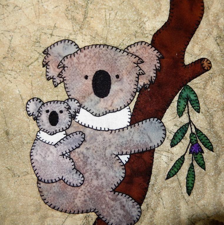 Koala Mum and Baby Applique Quilt Block | Applikationen, Tier und Nähen
