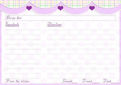 large purple polka dots recipe card